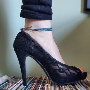 Black Lace Open Toe Pump
